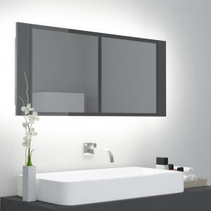 Dulap de baie cu oglindă și LED, gri extralucios, 100x12x45 cm