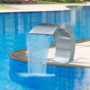 Fântână de piscină cascadă grădină, 45 x 30 x 60 cm, oțel inoxidabil