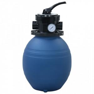Filtru cu nisip pentru piscină supapă 4 poziții albastru 300 mm