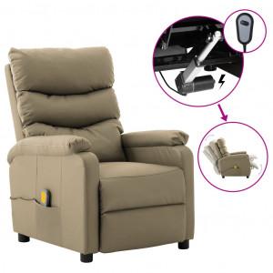Fotoliu de masaj rabatabil electric, cappuccino piele ecologică