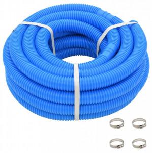 Furtun de piscină cu cleme, albastru, 38 mm, 12 m