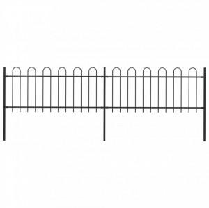 Gard de grădină cu vârf curbat, negru, 3,4 x 0,8 m, oțel