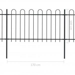 Gard de grădină cu vârf curbat, negru, 3,4 x 1 m, oțel