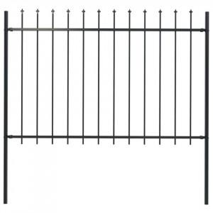 Gard de grădină cu vârf suliță, negru, 1,7 x 1,2 m, oțel
