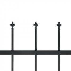 Gard de grădină cu vârf suliță, negru, 13,6 x 1 m, oțel