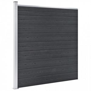 Gard de grădină, gri, 353 x 186 cm, WPC