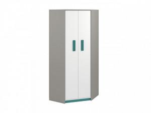 Iq 01 (Corner Dulap pentru haine) Grey Platinum/White/Marine Blue