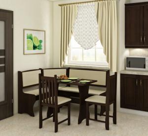kitchen corner set with chairs B | ECO BEIGE/S.DARK