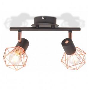 Lampă de plafon cu 2 spoturi E14, negru și bronz