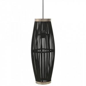 Lampă suspendată, negru, 27x68 cm, răchită, 40 W, oval, E27