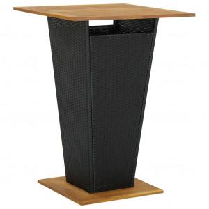 Masă de bar, negru, 80x80x110 cm, poliratan/lemn masiv acacia