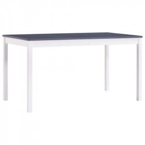 Masă de bucătărie, alb și gri, 140 x 70 x 73 cm, lemn de pin