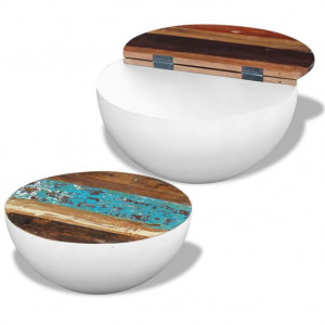 Masă de cafea din lemn reciclat de esență tare, 2 buc.