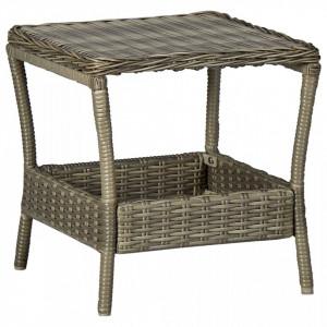 Masă de grădină, maro, 45 x 45 x 46,5 cm, poliratan