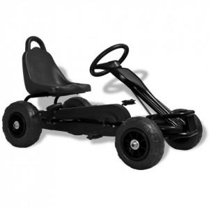 Mașinuță kart cu pedale și roți pneumatice, negru