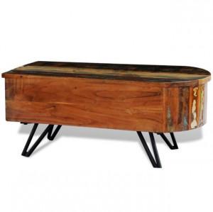 Măsuță de cafea cu picioare țăruș din fier, lemn masiv reciclat