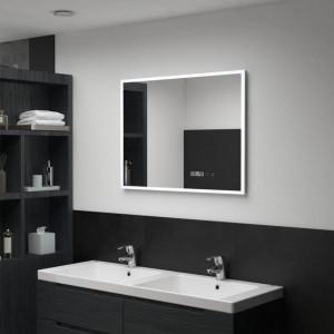 Oglindă cu LED de baie cu senzor tactil și afișaj oră, 80x60 cm