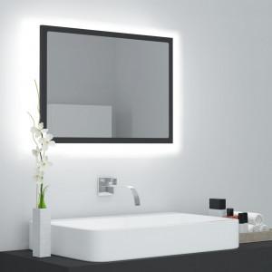 Oglindă de baie cu LED, gri, 60x8,5x37 cm, PAL