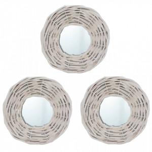 Oglinzi, 3 buc., alb, 15 cm, răchită
