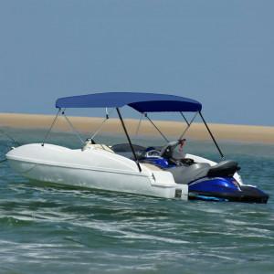 Parasolar barcă Bimini 4 arcuri bleumarin, 243x(230-244)x137 cm