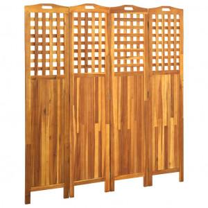 Paravan de cameră cu 4 panouri, 161x2x170 cm, lemn masiv acacia