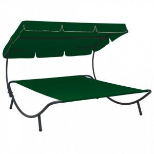 Pat șezlong de exterior cu baldachin, verde