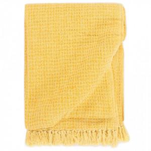 Pătură decorativă, galben muștar, 160 x 210 cm, bumbac