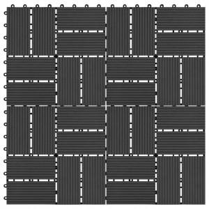 Plăci de pardoseală 11 buc, negru, 30 x 30 cm, WPC, 1 mp