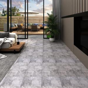 Plăci de pardoseală, maro ciment, 4,46 m², PVC, 3 mm