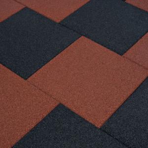 Plăci de protecție la cădere 24 buc. roșu, 50x50x3 cm, cauciuc