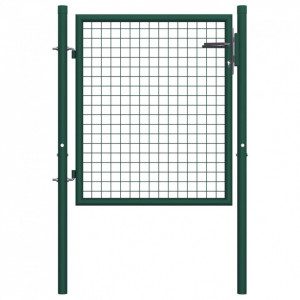 Poartă de gard, verde, 100 x 125 cm, oțel