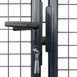 Poartă din plasă de grădină, gri, 289x150 cm, oțel galvanizat