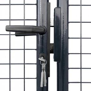 Poartă din plasă de grădină, oțel galvanizat, 289x75 cm, gri