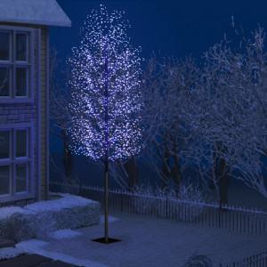 Pom Crăciun, 2000 LED-uri lumină albastră flori de cireș 500 cm