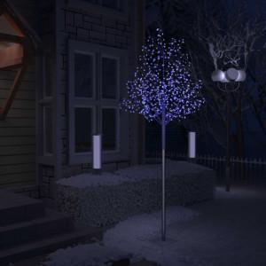 Pom Crăciun, 600 LED-uri lumină albastră, flori de cireș 300 cm