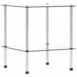 Raft cu 2 niveluri, transparent, 40x40x47 cm, sticlă securizată