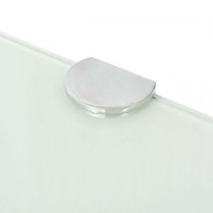 Raft de colț cu suporți de crom, sticlă, 35 x 35 cm, alb