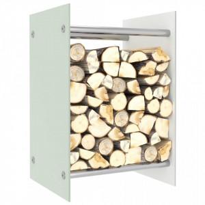 Rastel lemne de foc, alb, 40 x 35 x 60 cm, sticlă