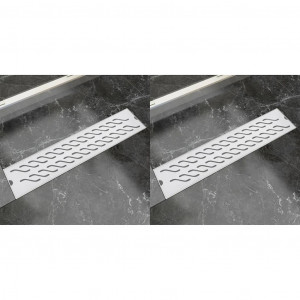 Rigolă liniară duș 2 buc 530x140 mm oțel inoxidabil model valuri