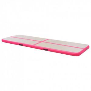 Saltea gimnastică gonflabilă cu pompă roz 500x100x10cm PVC