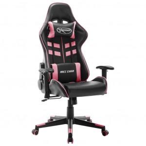 Scaun pentru jocuri, alb și roz, piele artificială