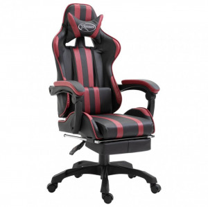 Scaun pentru jocuri cu suport picioare roșu vin piele ecologică
