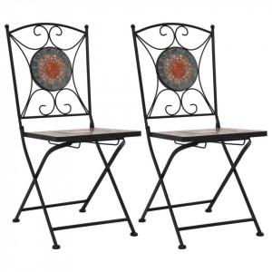 Scaune de bistro cu mozaic, 2 buc., portocaliu/gri