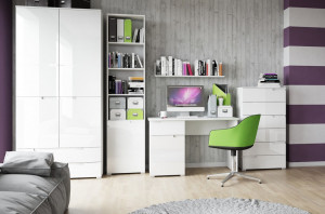 Selene 3 comoda white high gloss/white