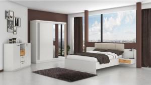 Set Dormitor Effect, Alb, Dulap 200 cm, Pat 160x200 cm, 2 noptiere, comoda