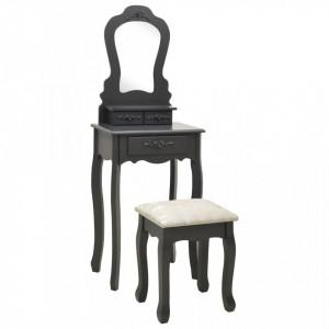 Set masă de toaletă cu taburet gri 50x59x136 cm lemn paulownia
