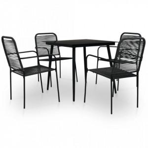 Set mobilier de exterior, 5 piese, negru, frânghie și oțel