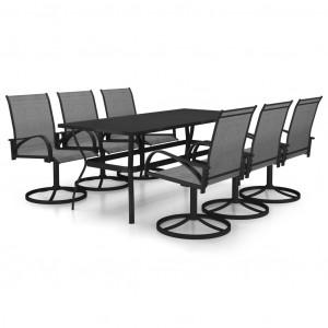 Set mobilier de grădină, 7 piese, textilenă și oțel inoxidabil