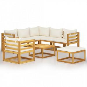Set mobilier de grădină, 8 piese, perne crem, lemn masiv acacia
