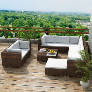 Set mobilier de grădină cu perne, 10 piese, maro, poliratan